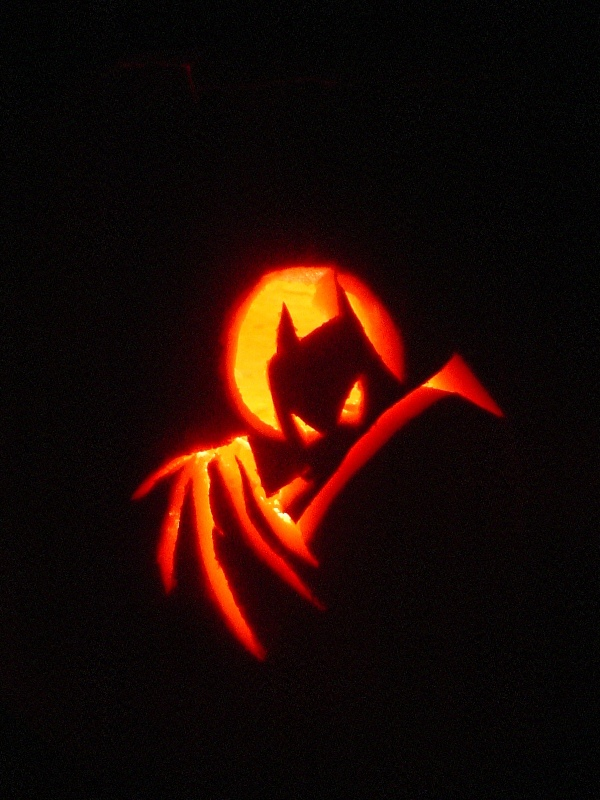 I am the pumpkin made a batman bat signal duo for carving